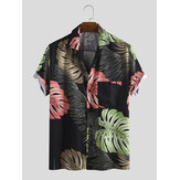 Men Monstera Print Short Sleeve Hawaiian Shirts