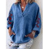 Blusa de bolsillo de manga larga con cuello en V bordado suelto para mujer