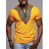 قميص رجالي أفريقي بأكمام قصيرة بطباعة نمط Dashiki بلوزة تي شيرت