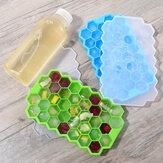 Godmorn 2 opakowania po 74 kostki sześciokątne silikonowe formy do kostek lodu Forma do lodu z pokrywką do żywności dla niemowląt i batonika