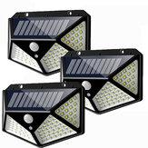 3pcs 100 LED Solar Powered PIR Movimento Sensor Luz de parede Lâmpada de jardim ao ar livre 3 modos