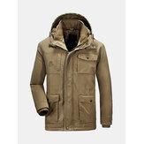 Winter Velvet Plus Thick Warm Detachable Hood Cotton Men Jac