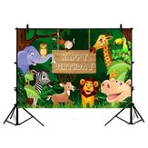 3x5FT 5x7FT 6x8FT Fun Jungle Animals Photography Backdrop Happy Birthday Photo Background Party Decoration