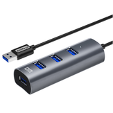 DM CHB009 4 Portas USB3.0 Hub 300Mbps Extender Extension Conector Adaptador Hub USB para PC Laptop