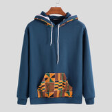 Mens Hooded African Printing Drawstring Sweatshirt