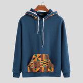 Mens Hooded Afrika Printing Serut Sweatshirt