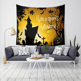 Loskii LWG5 Halloween Tapestry Pumpkin Print Opknoping Tapestry Wall Art Home Decor Halloween Decoraties voor thuis