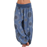 Wide Leg Print Casual Pantalones
