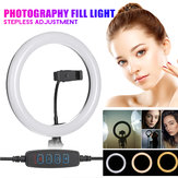 LED Ring Fill Light Studio Lamp Photographic For Video Live Beauty Makeup Mirror Light Streaming USB + Hose Phone Clip + PTZ