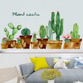 Loskii FX82119 Cartoon Green Cactus Wandaufkleber Kunst Kinderzimmer Kinderzimmer Dekoration Wohnkultur