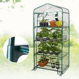 4 Tiers Greenhouse Garden Green House Planting Grow Box  House Shed PE Cover Apex Roof 1.6M