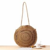 Bolsa de tecido de mulheres Rodada Rattan Straw Shoulder Bolsa Bolsa de verão Praia