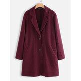 Jacquard Solid Color Revers Langarm Jackenmäntel für Damen