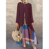 Women Long Sleeve Print Patchwork Long Maxi Dress