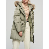 Women Winter Solid Color Big Fur Collar Hooded Cotton Coats