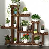 Wielopoziomowy drewniany stojak na kwiaty rośliny półka regał stojący kwiat doniczkowy wiatrak uchwyt na rośliny wyświetlacz wystrój zewnętrzny + zestaw narzędzi do sadzenia z kołem