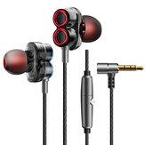 KDK-503 Universele bedrade oortelefoon Dual Dynamic Drivers Stereo Super Bass Headset met microfoon