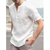 INCERUN Mens V Neck Vertical Striped Printing Summer Short Sleeve Casual Shirts