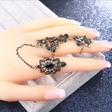 Gold Plated Rhinestone Adjustable Double Rings