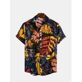 Mens Summer Vacation Casual Blomsterutskrifter Hawaiian Skjortor