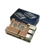 Золотой Armor Алюминиевый сплав Чехол Защитный металлический корпус с двойным вентилятором для Raspberry Pi 4 Только для Model B