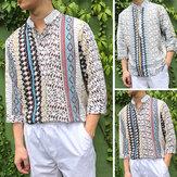 Erkekler Çiçek Dashiki Stil Nedensel Gömlek 3/4 Kollu Hippi Meksika Tişört En Tee