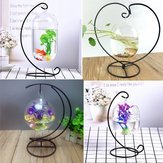 Hanging Clear Glass Ball Mini Fish Tank Aquarium Home Desktop Decor with Stand