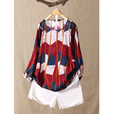 Crew Neck Print Striped Contrast Color Long Sleeve Blouse