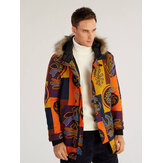 Mens Cotton Printing Hooded Thickened Windproof Coats