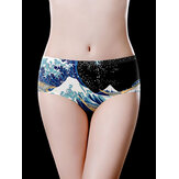 Mid Waist Ice Silk Printed Seamless Breathable Briefs