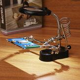 Luz LED Solda Ferro Stand Holder Ajudando As Mãos Lupa Lupa Terceiro Lupa Mão