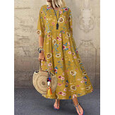 Mulheres Casual Loose Printed O-Neck Half Sleeve Dress