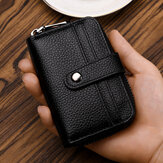 Men Mini Genuine Leather Multi-Card Holder Zipper Wallet