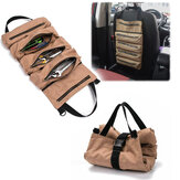 5 Pockets Tool Roll Bag Large Wrench Big Tool Roll Up Bag Canvas Tool Car Organizer