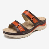 LOSTISY Mujer Color empalme cómoda cuña de verano Sandalias