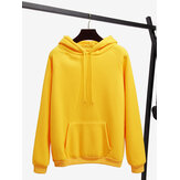 Solid Color Long Sleeve Casual Hooded Sweatshirt