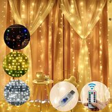 3M * 1M / 3M * 2M USB Wodoodporny drut Sliver LED String Light Curtain Tree Strip Fairy Christmas Holiday Party