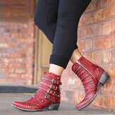 Large Size Buckle Decoration Motorcycle Leather Boots