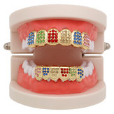 Bijoux de dents colorées en diamant et strass Grillz