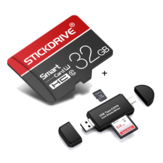 StickDrive 32GB Class 10 High Speed TF Memory Card with Camera Card Adapter+ 3 In 1 Type-C USB 2.0 Micro USB Memory Card Reader