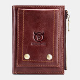 Bullcaptain Men Genuine Leather Zipper Coin Wallet