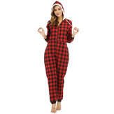 Striped Lattice Hooded Long Sleeve With Pocket Onesie