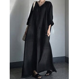 Women Casual V Neck 3/4 Seeve Solid Cotton Maxi Dress