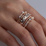 Stackable Ring Set Metal Geometric Rhinestone Inlay Ring