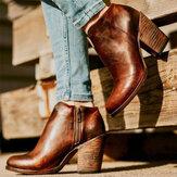 المرأة الصلبة الرجعية اللون أحذية عالية للدراجات النارية مكتنزة