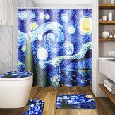180x180 cm The Starry Night Pattern Łazienka Wodoodporne zasłony prysznicowe Toliet Mat 12 haczyków