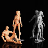 3.75'' PVC Female Male Body Joints Action Figure Gray Flesh Luxury Skin Version