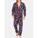 Heren Funny Wolf Print Jumpsuit Loungewear Royal Blue Hooded O