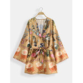 Bohemian Çiçekli Baskı V Boyun Kuşaklı Mini Elbise Hırka