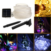 39FT 100 LED Solar String Rope Fairy Light Waterproof Xmas Wedding Party Decor Night Light